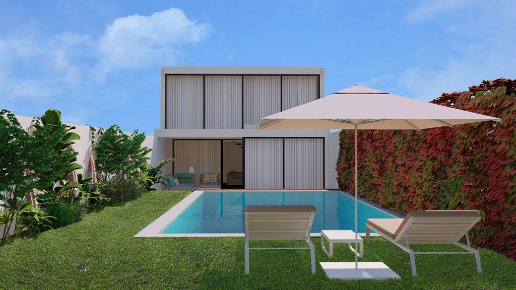 Projeto Design de Interiores e exterior, CódigoDesign, jardim com piscina. Guimarães Portugal