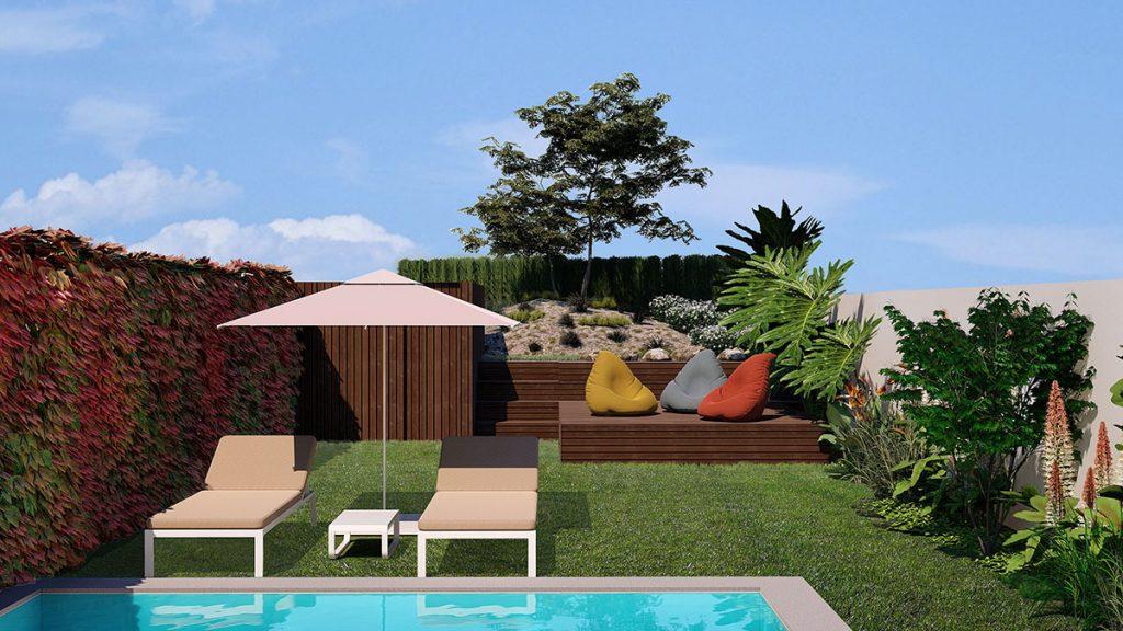 Projeto Design de Interiores e exterior, CódigoDesign, jardim com piscina, zona de lazer. Guimarães Portugal