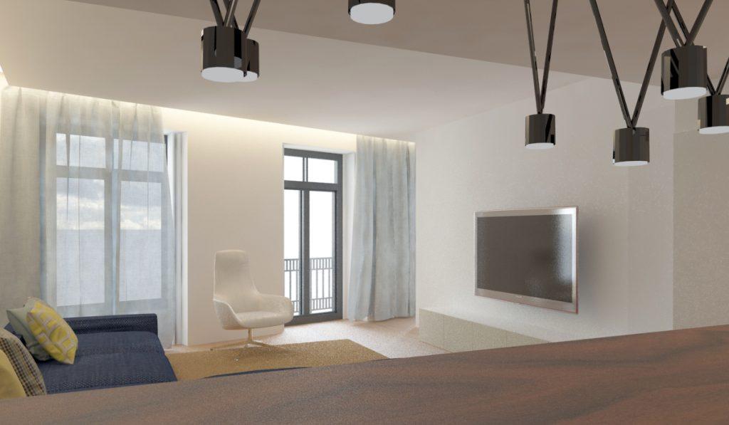 Projeto de design de interiores, cozinha e sala open space, Porto (Portugal) CódigoDesign