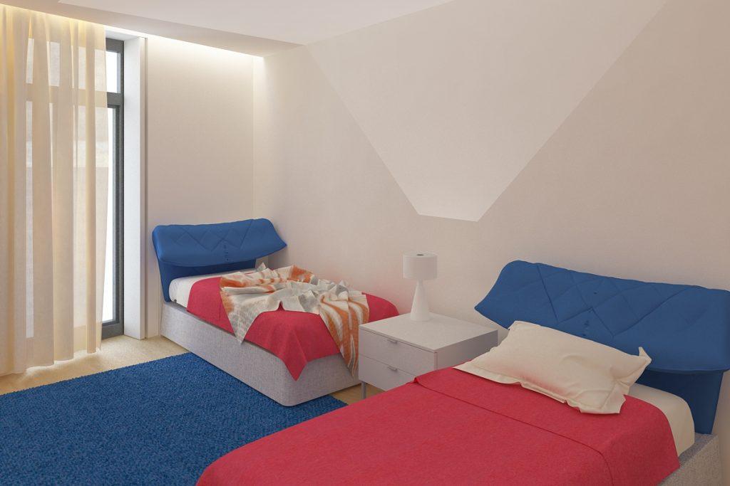 Projeto de design de interiores, quarto duplo, Porto (Portugal) CódigoDesign