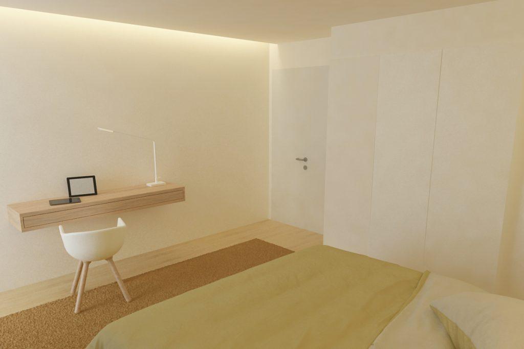 Projeto de design de interiores, quarto com secretária, Porto (Portugal) CódigoDesign