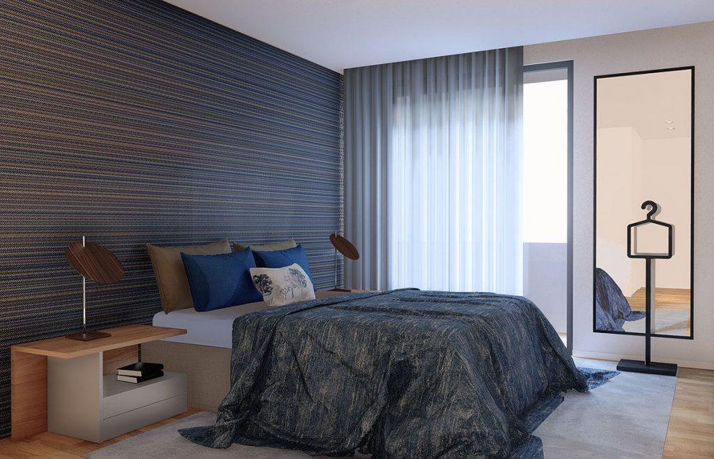 Projeto Design de Interiores, CódigoDesign, quarto suite com walking closet, espaço com Arte, Guimarães Portugal