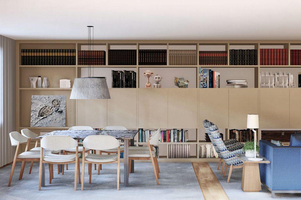 Projeto Design de Interiores, CódigoDesign, sala de estar e jantar open space, espaço com Arte, Guimarães Portugal