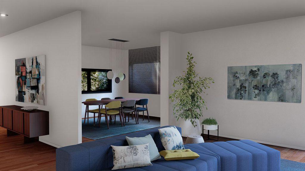 Projeto de interiores num apartamento no Porto, Foz (Portugal), preview da sala de estar e jantar
