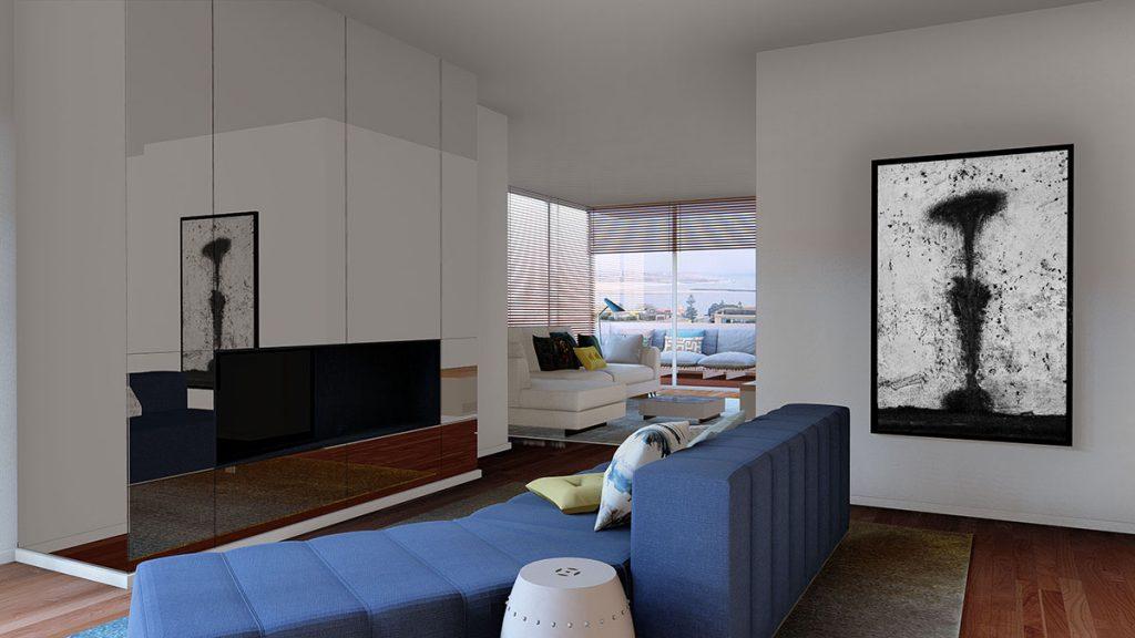 Projeto de interiores num apartamento no Porto, Foz (Portugal), preview das salas de estar