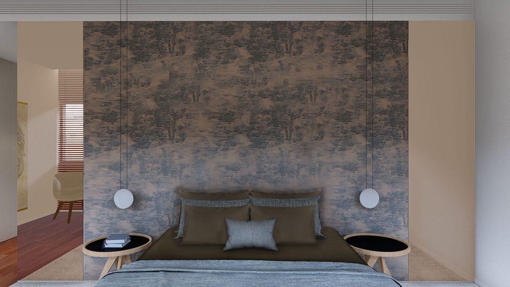 Projeto de interiores num apartamento no Porto, Foz (Portugal), quarto suite com walking closet