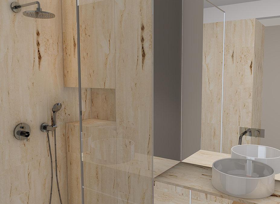Projeto de interiores num apartamento no Porto, Foz (Portugal), wc suite