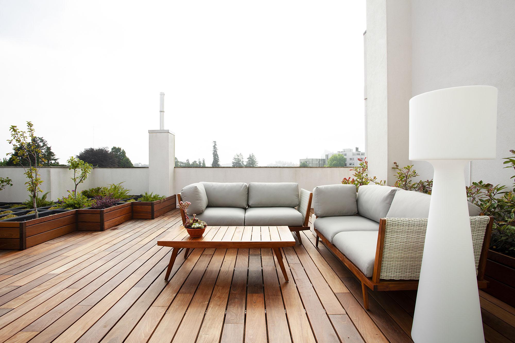 Projeto de decoração num apartamento do Porto (Portugal), área do terraço exterior