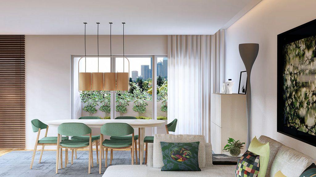 Projeto de Design de Interiores num apartamento em Braga (Portugal), sala de jantar e estar open space