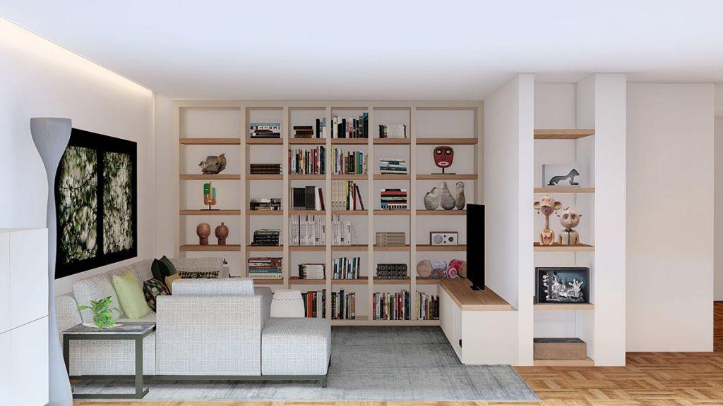 Projeto de Design de Interiores num apartamento em Braga (Portugal), sala de estar com estante desenhada à medida