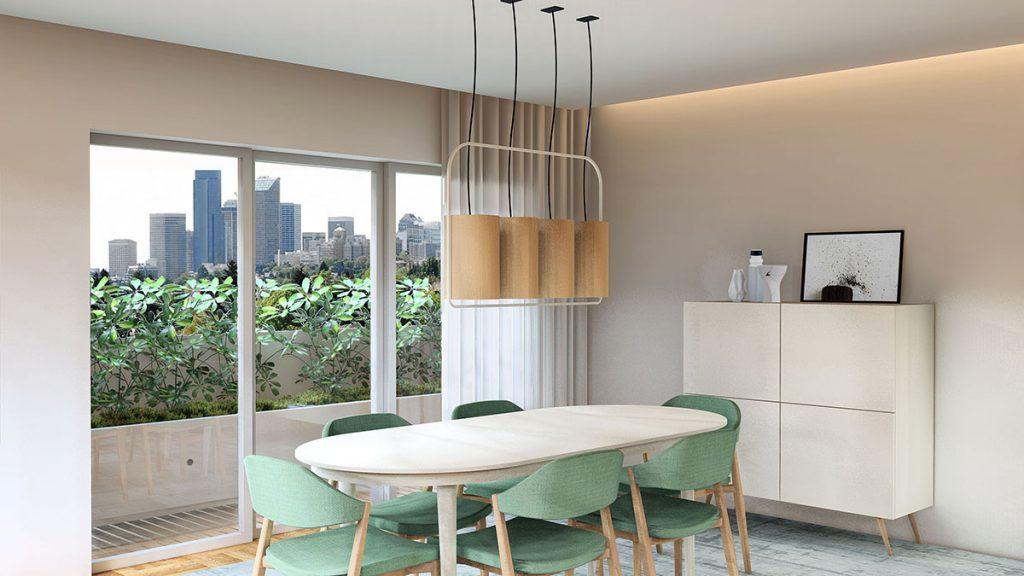 Projeto de Design de Interiores num apartamento em Braga (Portugal), sala de jantar