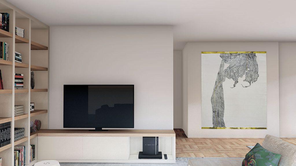 Projeto de Design de Interiores num apartamento em Braga (Portugal), zona de TV