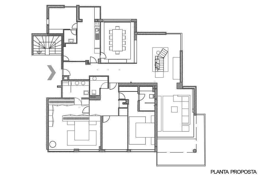 Projeto de interiores num apartamento no Porto, Foz (Portugal). Planta Proposta