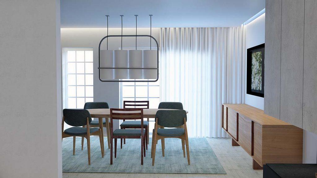 Projeto design de Interiores de uma moradia em Évora, sala de jantar